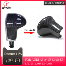 цена на A5 A6 Carbon Gear shift knob Cover For Audi A3 A4 S3 Q5 S6 S7 Control Gear shift knob Handle Collarcover LHD 2012 2013 2014-2016