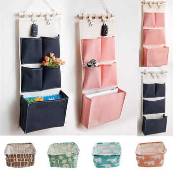 Canvas Printing Cotton Linen Hanging Storage Bag 5 Pockets Wall Mounted Wardrobe Hang Bag Wall Pouch Cosmetic Toys Organizer fulllove 12 pockets 32 72cm linen storage bag number print navy hanging organizer for cosmetic books home storage