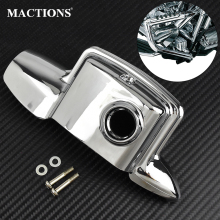 лучшая цена Chrome Rear Motorcycle Brake Master Cylinder Cover For Harley Touring 2008-2019 Electra Glide Road Street Glide Road King FLHR