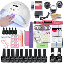 Manicure Set with Nail Lamp 80/54/36W Nail Set 10 Color UV Gel Nail Polish Kit Tools Set Nail Art Kits for Manicure Nail files