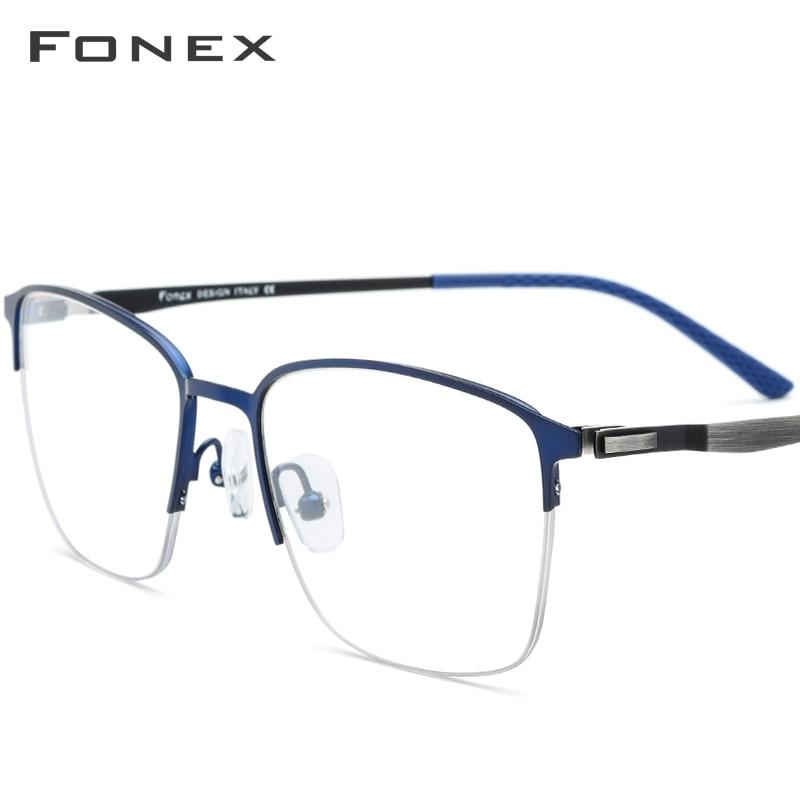 FONEX Alloy Glasses Men Ultralight Square Prescription Eyeglasses Frame Male Half Myopia Optical Frames Screwless Eyewear 9846