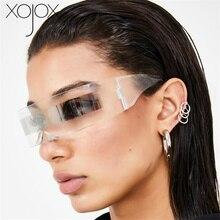 XojoX Funny Futuristic Wrap Around Costume Sunglasses Weird Siamese Fashion Glasses