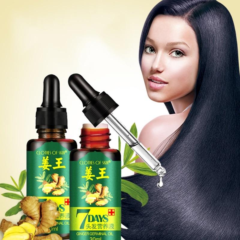 2/3/4pcs 7 Days Hair Growth Ginger Oil 30ml Anti Hair Loss Liquid Damaged  Repair Growing Hair Treatment Essence