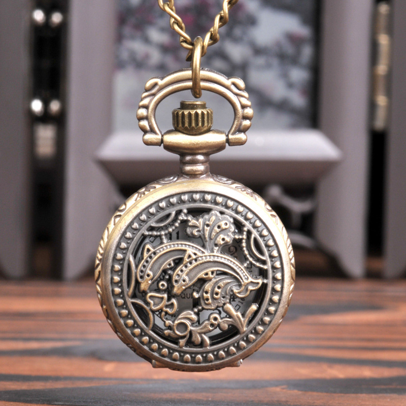 Small Bronze Hollow Dolphins Pocket Watch Retro Double Dolphins Animal Pocket Watch