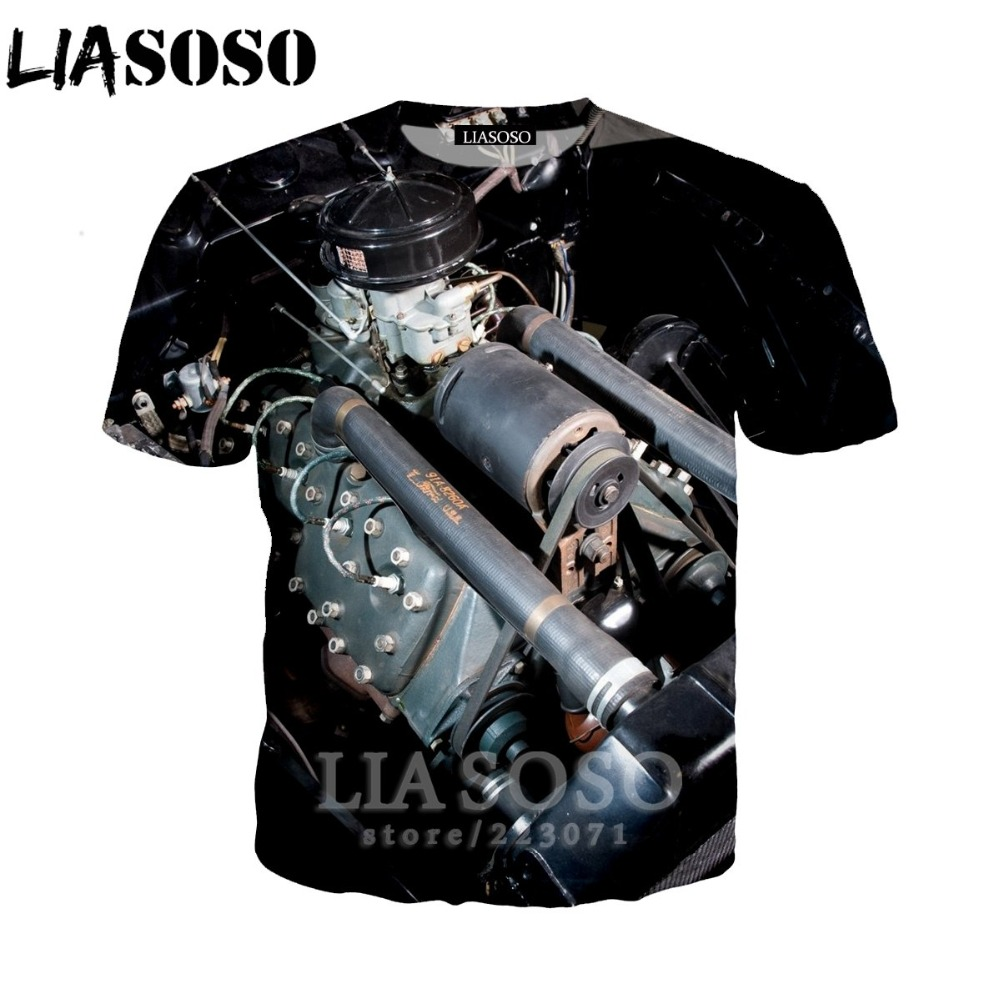 LIASOSO Women Sweatshirt 3D Print Engine T Shirt Car Parts Men`s T-shirts Machinery Men Cartoon Tshirt Harajuku Beach Tees D013-2 (13)