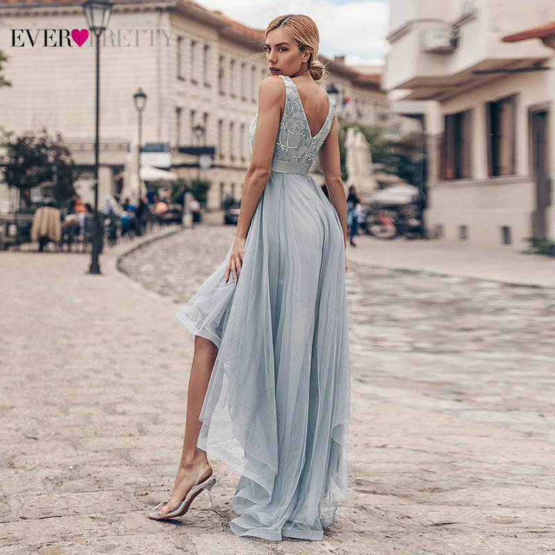 Sexy Grey Evening Dresses Ever Pretty Sequined Asymmetrical Double V-Neck Sleeveless Tulle Long Party Gowns Abendkleider 2020