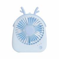 Usb şarj edilebilir düşük gürültü Mini Fan yaz masaüstü elektrikli sevimli hayvan figürü Fan el fanı