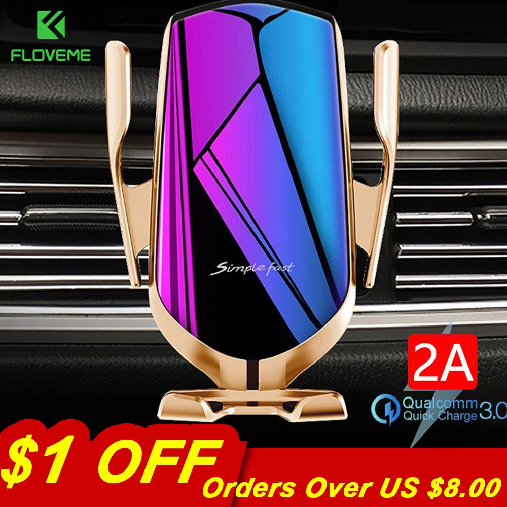 FLOVEME Automatic Clamping 10W Wireless Charger Car Phone Holder Infrared Sensor Qi GPS Air Vent Mount Mobile Phone Car Holder