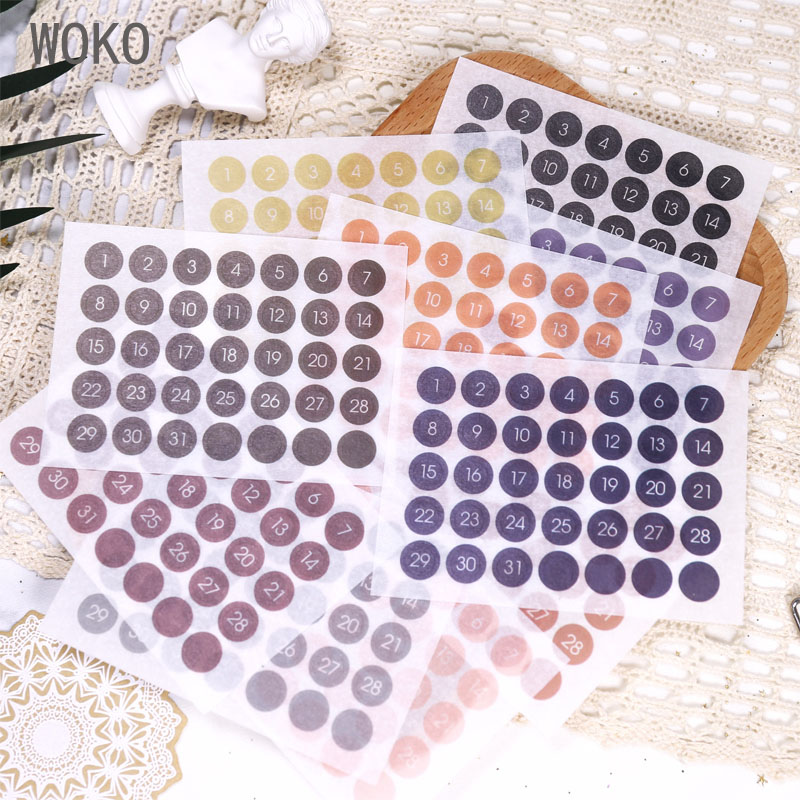 WOKO 12pcs Cute Round Label Daily Plan Stickers Color Number Date Schedule Label Digital Index Tag Deco Sticker DIY Scrapbooking