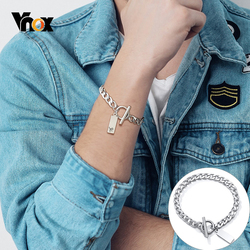 Vnox Personalize Engrave Stamp Cuban Chain Bracelets for Men Solid Metal Stainless Steel Toggle Clasp Custom Tag Male Jewelry