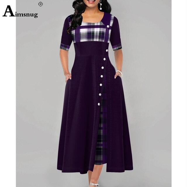 Plus size 4xl 5xl Women Elegant Long Dress Patchwork Plaid Print Party Dresses Irregular Ladies Vintage Button A-Line Dress