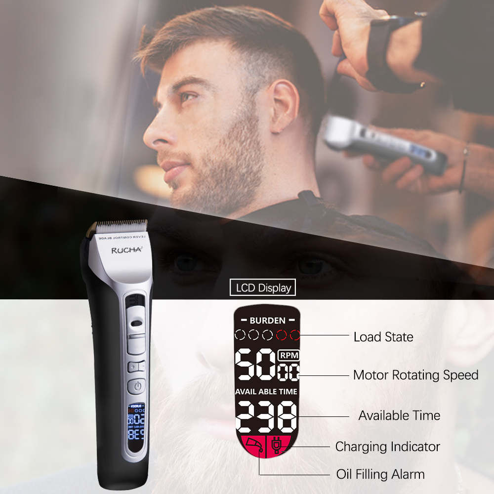 RUCHA Barber Electric Hair Clipper Rechargeable Hair Trimmer Titanium Ceramic Blade LCD Display Salon Men Hair Cutting Machine 3