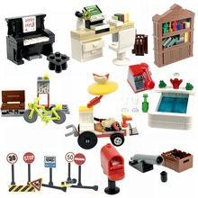 Legoing MOC Creator Blocks Desk Bookcase Piano Bathtub Set Building Blocks Toys for Children for Creator DIY Scenes Blocks Parts(China)