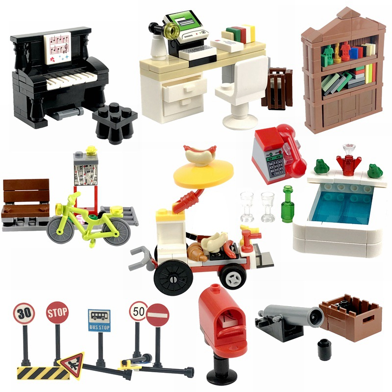 Locking MOC Creator Blocks Desk Bookcase Piano Bathtub Set Building Blocks Toys for Children for Creator DIY Scenes Blocks Parts