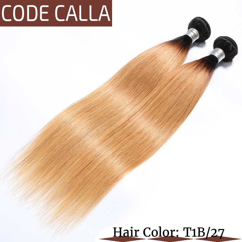 Code Calla Straight Brazilian Remy 100% Human Hair Weaving Weft Ombre Brown Color Bundles Extensions Free Shipment For Women