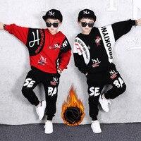 Plus Velvet Thickening Autumn Big Boys Clothes Pants 2Pcs Cotton Girls Suits Children Clothing Sets Fashion sports Tracksuits