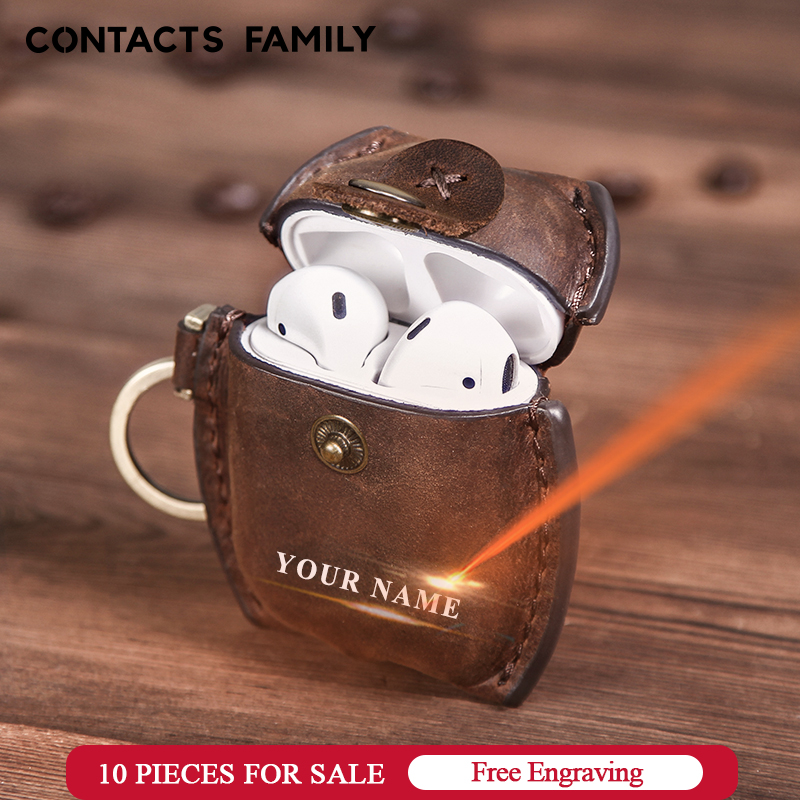 Headphone Case For Airpods Leather Case Luxury Genuine Cover For Apple AirPods 2 Funda Air pods Earpods Accessories Earphone Bag