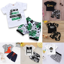 Summer Baby Boy Clothes Toddler Set 2Pcs Fashion Print Soft Tops Tees+Camouflage Short Pants Newbron 0-2 Years D35