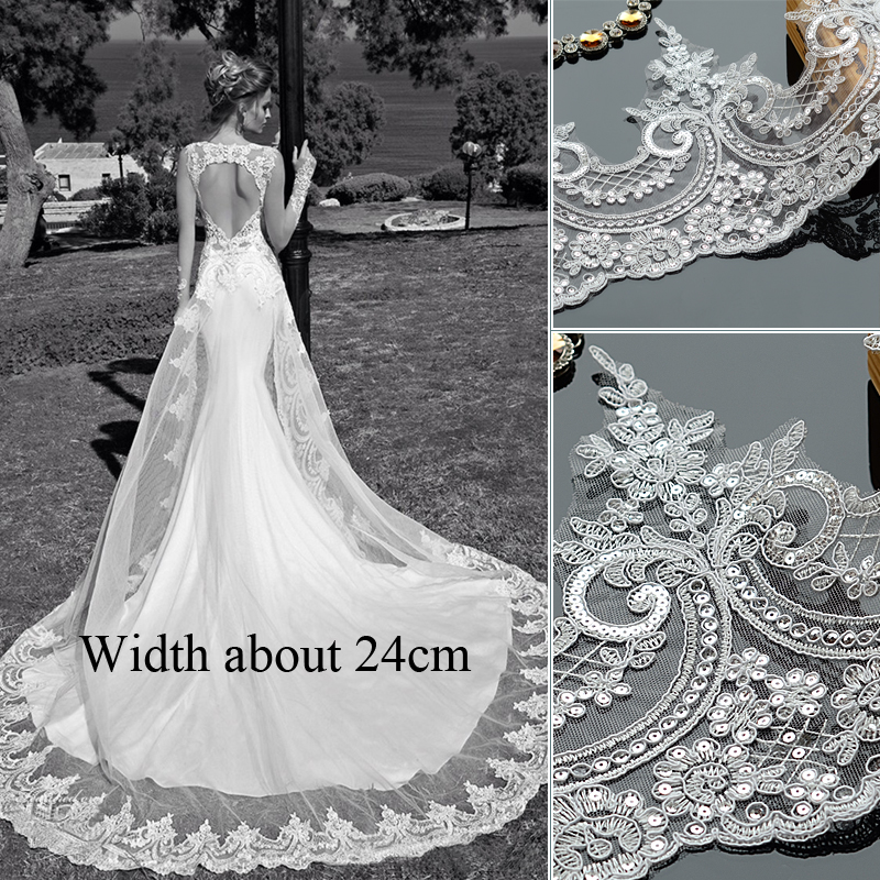 1meter/lot Sequin Framed Lace Flower Border Accessorial Handmade DIY Bridal Decoration Wedding Dress Head Veil Curtain Material