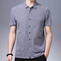 NEW 2019 Summer men's loose short-sleeved shirt middle and elderly double-pocket small round neck middle-aged shirt KN200-1-7