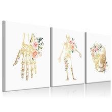 Цветочный скелет холст картина в рамке Настенная абстрактный