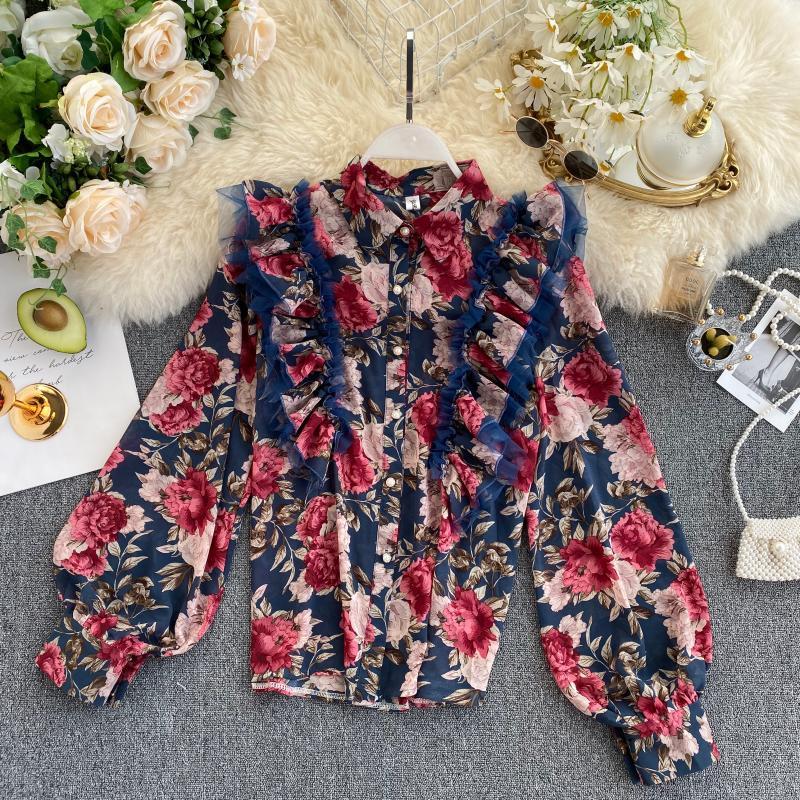 Women Retro Chiffon Blouse Spring 2020 New Mesh Patchwork Ruffles Blouses Female Floral Print Long Sleeve Tops