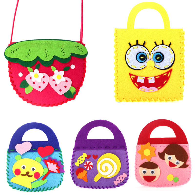 Craft Kits For Children Toy Non-woven Cloth Bag DIY Dindergarten Handmade Bags For Party Or Parent-Child Activities Toys For Kid