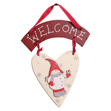 Xmas Wooden Crafts Snowman DIY Christmas Hanging Ornaments Holiday New Year Party Welcome Tags for Home Door Window Decoration