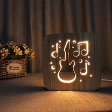 Wooden Led Guitar Hollow Design 3d Night Lamp Warm Lamp Usb Desk Table Lamp For Creative Gift Or Home Hotel Club decoration new arrival creative energy saving rechargeable 3d colorful motorcycle shape led with usb table lamp or room decoration