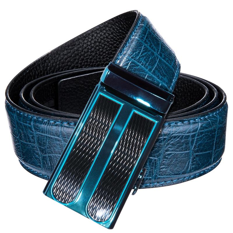 Luxury Brand Men's Blue Automatic Buckle Cowskin Genuine Leather Belts Men New Fashion Casual Punk Crocodile Belt 3.5cm width