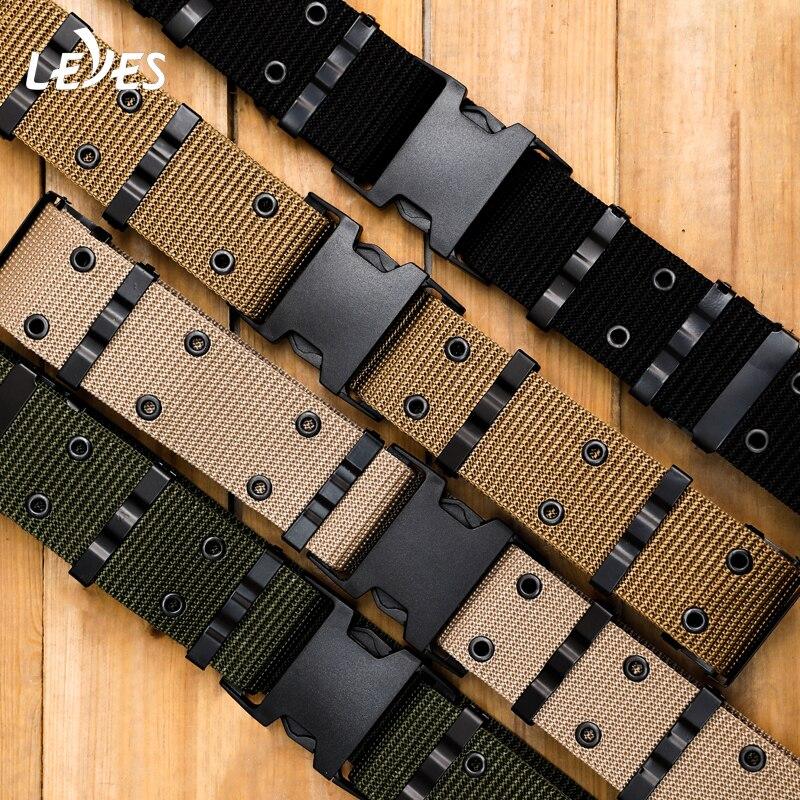Tactical Training Belt For Men Plastic Insert Buckle Man Belts Canvas Nylon Carabiner Armed Combat Military Hunting Wide Webbing