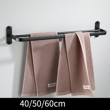 Uchwyt na ręczniki wieszak na ręczniki wieszak na ręczniki wieszak na ręczniki 40 50 60 CM naścienny aluminium akcesoria łazienkowe wieszak na ręczniki tanie i dobre opinie XunShiNi Przestrzeń Aluminium NONE CN (pochodzenie) Podwójne wieszaki Z hakiem Lakierowane 50 cm