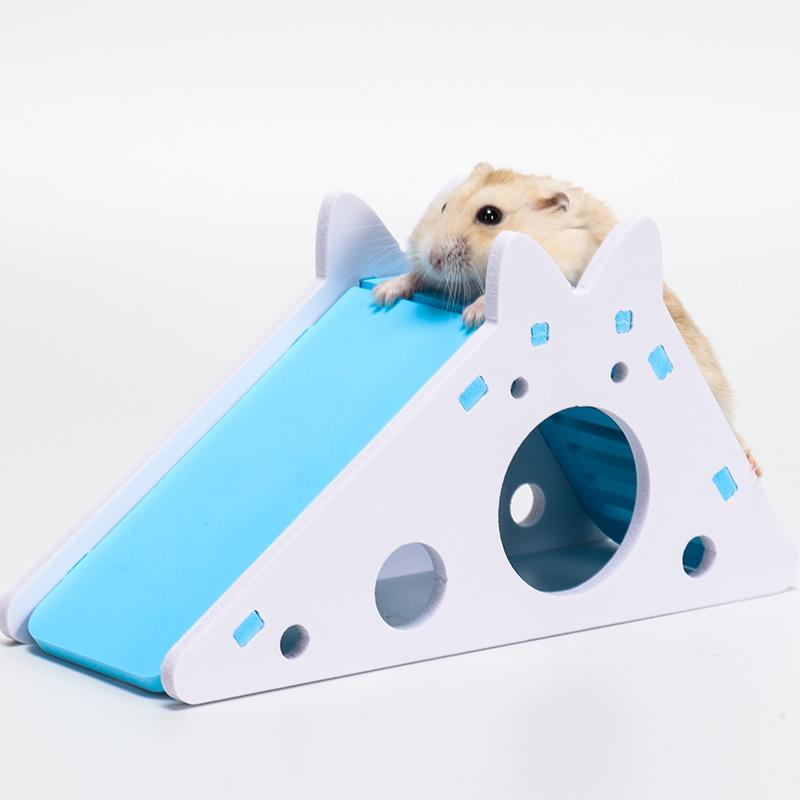 Hamster Hideout Guinea Pig Exercise Toy Wood-Plastic Plate Hedgehog House With Ladder Slide Chinchilla Cave Small Pet Supplies