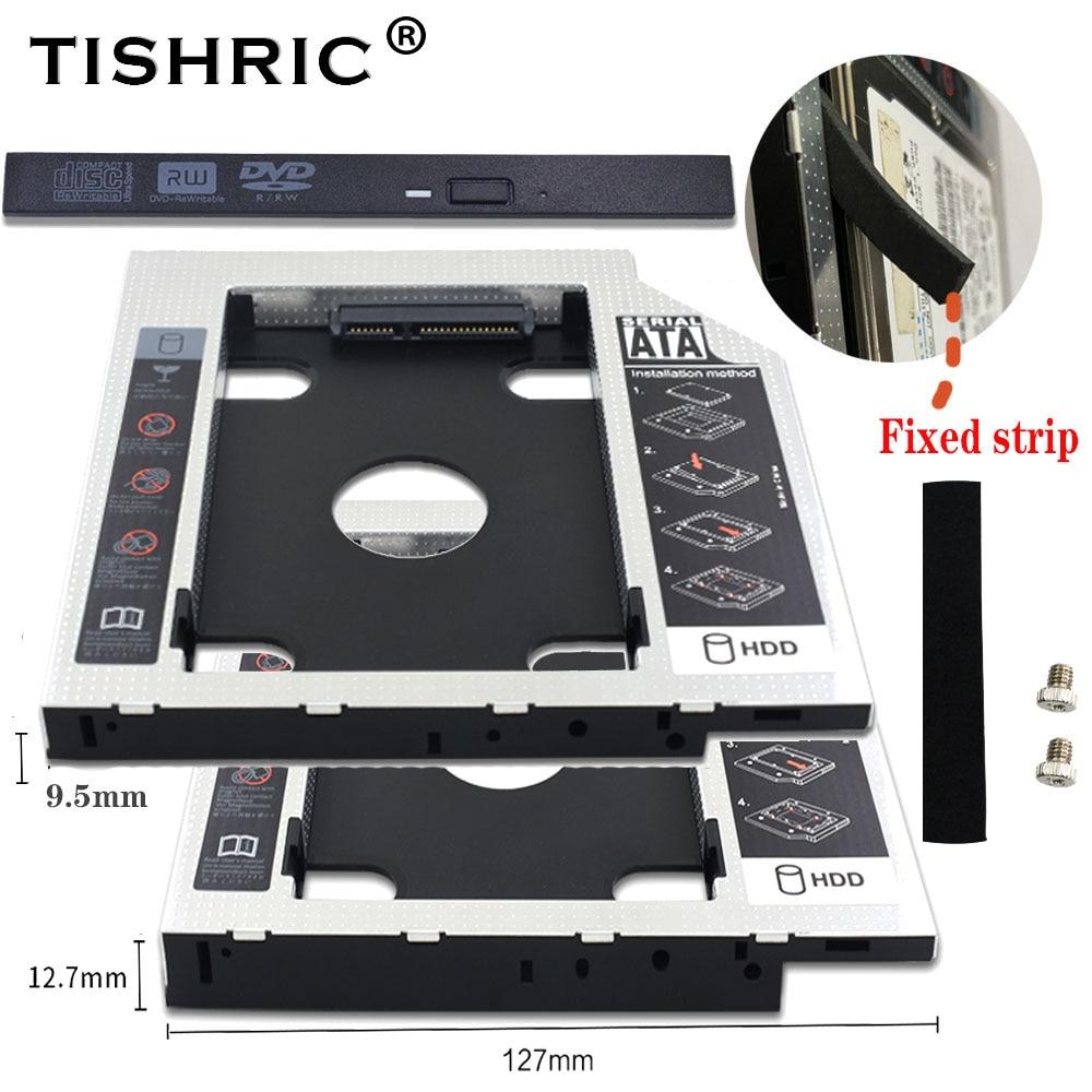 Универсальный адаптер Tishric 9,5 мм/12,7 мм 2nd Hdd Caddy SATA 3,0 для 2,5 дюймового SSD корпуса жесткого диска Optibay для ноутбука DVD ROM Корпус жесткого диска      АлиЭкспресс