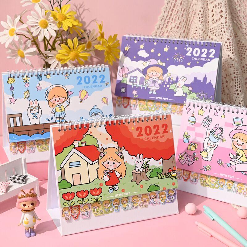 MINKYS New Arrival 2021.8-2022.12 Kawaii Desktop Calendar Planner Agenda Creative School Office Stationery