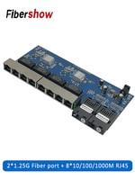 Pwb da placa do porto 10/100/1000 m da fibra do sc do conversor pcba 8 rj45 utp e 2 dos meios óticos do interruptor dos ethernet de gigabit|Transmissão e cabos| |  -