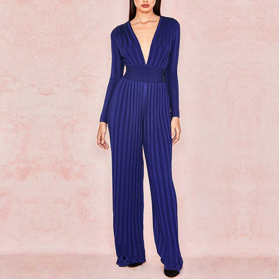 Seamyla 2019 New Bandage Jumpsuits Sexy Women Blue Boot Cut Rompers Bodycon Long Sleeve Winter Club Party Jumpsuit Long Trousers
