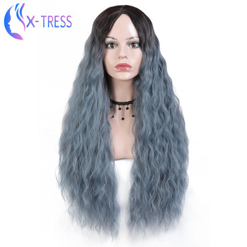 X-TRESS Synthetic Ombre Blue Colored Wig 29inch Deep Wave Cosplay Wigs Machine Made Heat Resistant Hair for Women wignee hand made front ombre color long blonde synthetic wigs for black white women heat resistant middle part cosplay hair wig