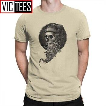 Winya No. 99 Skull Beard Mens T-Shirt Short Sleeve Mans Tees Leisure Crew Neck Beige T Shirt 100% Cotton