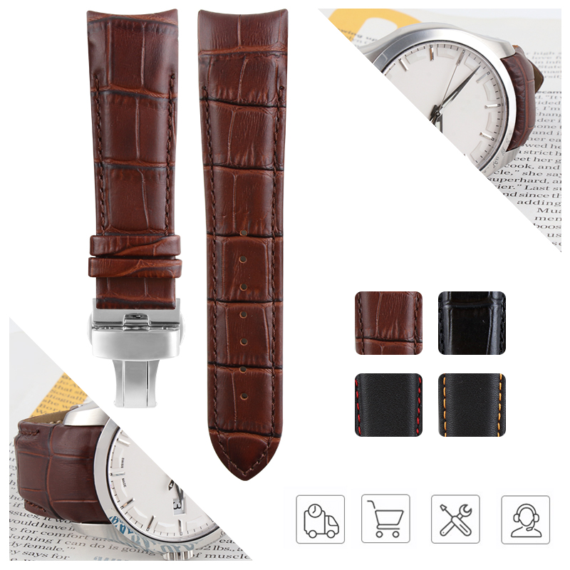 Curved End Genuine Leather Watchband Watch For COUTURIER T035 Man Watchstrap 22mm 23mm 24mm For T035627 T035407 T035617 T035614