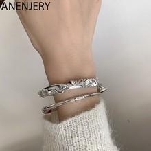 ANENJERY – Bracelet rétro en argent Sterling 925 pour femme, bijou fait à la main, motif fleur de lotus, géométrique, ethnique