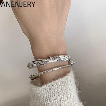 ANENJERY Retro 925 esterlina loto plateado flor pulsera brazaletes para las mujeres étnicos geométrica hecho a mano brazaletes S-B498