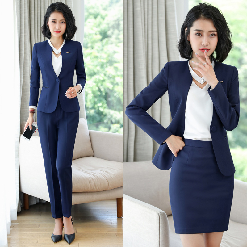 Women's  Long Sleeve Blazer Office Work Skirt Suits Fashion Notched ButtonSkirt Suit Slim Jackets Skirts Two Pieces OL Sets