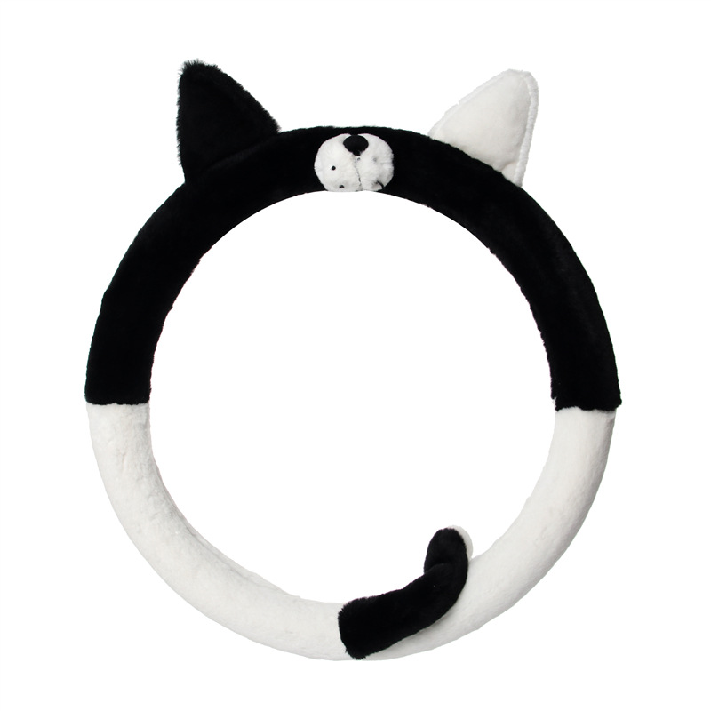 Cartoon Plush Car Steering Wheel Cover Anti-slip Universal Husky Steering Wheel Cover Four Seasons Universal Warm Steering Wheel