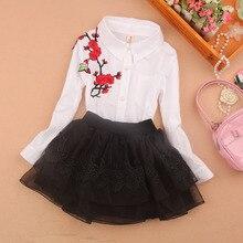 Kids Blouse 2019 Girls Shirt Full Sleeve White Bottoming Clothes Spring Autumn Flower Turn-down Collar Tops School Girl Blouses