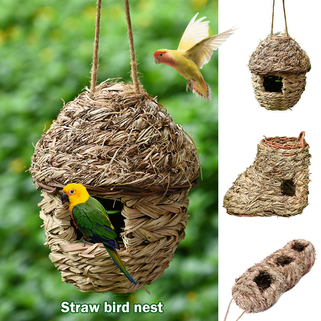 New Hand-woven Birds Nest Natural Environmentally  Cages Roosting Small Animals Hut Hanging House Decor#15 1