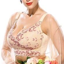 Kadın tam kapsama tel ücretsiz köpük olmayan artı boyutu çiçek dantel sütyen 34 36 38 40 42 44 46 B C D E F G H I J