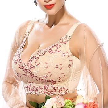 Women's Full Coverage Wire Free Non-Foam Plus Size Floral Lace Bra 34 36 38 40 42 44 46 B C D E F G H I J women s full coverage lace minimizer bra plus size lightly lined underwire floral bra for big breast woman 44 46 48 f h j i j k