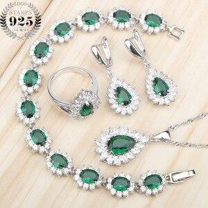 Image 1 - Ensemble de bijoux en Zircon vert argenté, Costume 925, boucles doreilles, pendentif et collier, bagues, ensemble de bijoux, coffret cadeau pour femmes