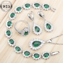 Yeşil zirkon kostüm gümüş 925 takı setleri kadınlar taşlar küpe kolye ve kolye yüzük düğün seti of takı hediye kutusu
